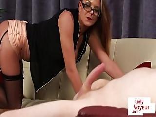 Busty British Voyeur Teasing Her Tugging Sub