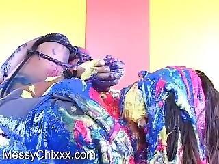 Big Boob Girl In Messy Slime Bondage