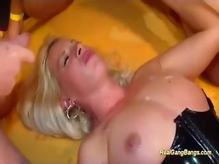 Sweet German In Extreme Gangbang