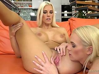 Busty Blonde Lesbian Enjoys Fisting