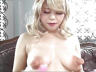 Asian Girl Inserts Vibrators In Her Big Nipples