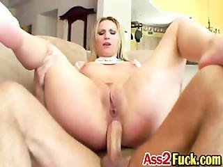 Blonde Whore Loves To Get Double Penetrated By Two Big Cocked Studs
