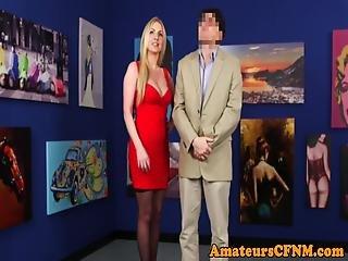 Classy Cfnm Babe Gives Sensual Handjob