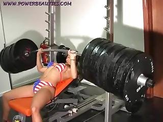 Sexy Bikini Babe Workout With A Huge Barbell