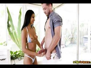 Sexy Skinny Latina Teen Pipped Down In Bikini