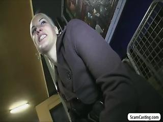 Blone girl Beata receives cash and gets fucked in a public train