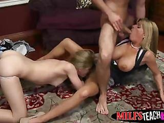 Busty Milf And Attractive Young Teen Playing With Huge Cock