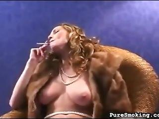 Blonde In Fur Smoking & Playing With Herself