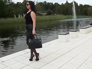 fetish, tysk, klackar, mogen, offentligt, solo