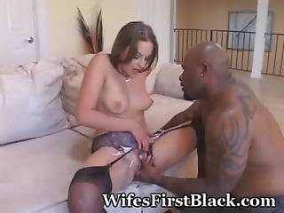 Black, Blowjob, Brunette, Foreplay, Hairy, Kissing, Lingerie, Missionary, Natural, Pussy, Virgin, Wife