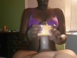 Ebony Wife Giving Sloppy Head With A Fruit