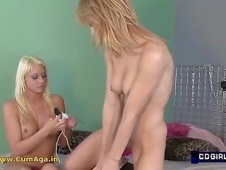 Lesbian Blonde Teens Masturbate To Orgasm With A Sybian