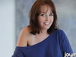 All Natural Redhead Hayden Winters Sits On The Kitchen Counter Mastubating