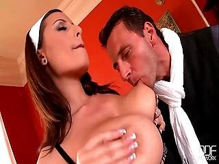 Busty French Maid Goes Crazy For Her Bosses Big Dick