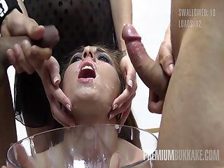 Premium Bukkake Nona Swallows 50 Huge Mouthful Cum Loads