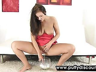Busty Brunette Uses Her Toy Balls For Stretching