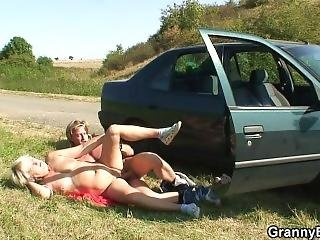 He Bangs This Old Whore On The Grass