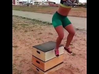 Armless Girl Working Out In Slow Motion