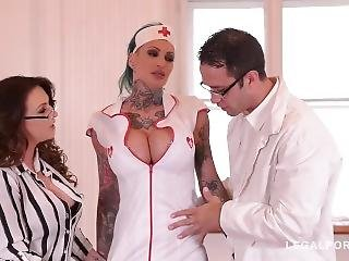 Tattooed Nurses Calisi Ink & Harmony Reigns Fucked By Brit Patient At Clini