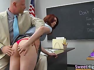 Coed, College, Cum, Cum Covered, Cumshot, Hardcore, Oral, Redhead, School, Teen, Uniform
