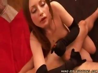 Angela In Long Gloves Milking