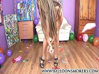 Latin Teen Sits On Big Balloons In High Heels To Pop