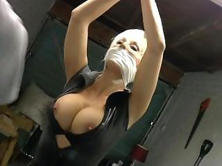 blondynka, bondage, obcisły strój