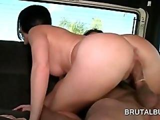 Big Ass Brunette Nailed Doggy Style In Bus