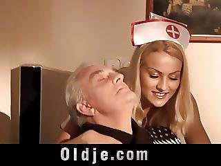 Two Retired Old Fellows Double Penetrate Their Sexy Nurse