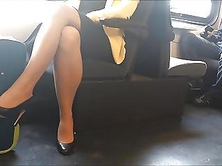A Candid Pantyhose And Heels In Train