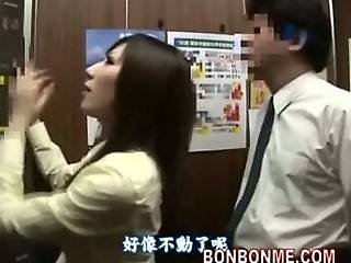 Japanese Schoolgirl Gives Fat Guy A Great Blowjob In Elevator