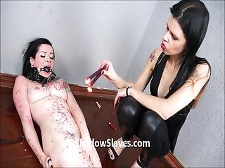 Brazilian Bdsm And Enslaved Latin Masochist Gagged And Hotwaxed In Brutal Lesbian Domination By Femdom Mistress Stern With Bonda