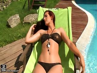 Mira - Tall Euroslut Takes An Assfucking By The Pool