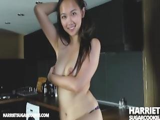 Super Busty Asian Teen Gets Horny In The Kitchen