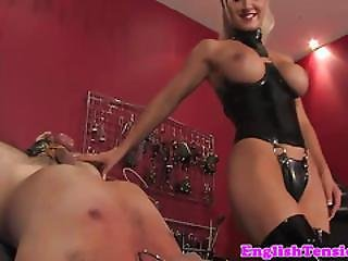 Busty Bdsm Domina Pushes Heels Into Sub Mouth