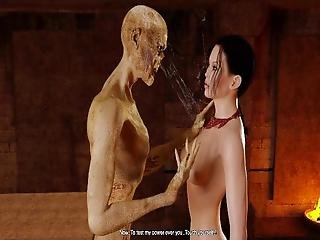 3d Brunette Fucked By Scary Zombie!