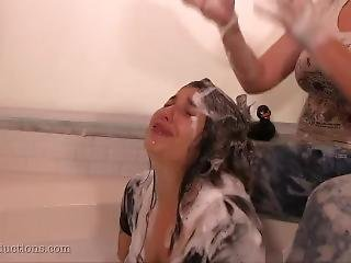 Messy Dirty Girl Gets Rough Hair Washing Punishment Against Her Will