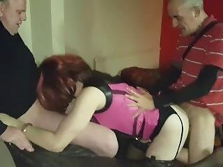 Tgirl Slut Lucy Gets Spitroasted By Two Big Cocks At Sex Club