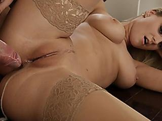 Blonde In Stockings Creampied In The Kitchen