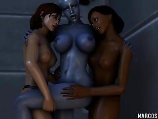 Brunette 3d Babe Fucked In Threesome On Space Ship