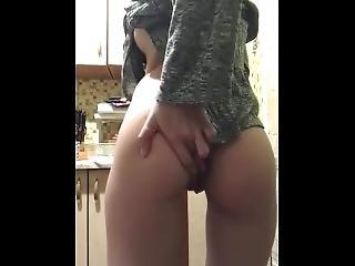 Masturbating Anus In The Kitchen