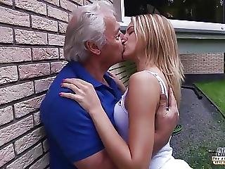 Grandpa Fucks Teen Fingers Her Tight Pussy Fucks Her Mouth