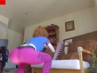 Sexy Redhead Milf In Tight Pink Leggings Doing Squats Her Big Ass On Cam !