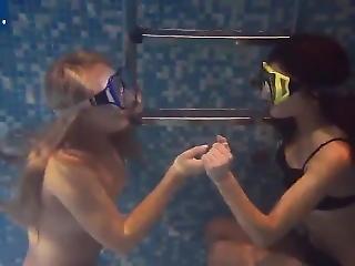 Blonde And Brunette Underwater Breathholding