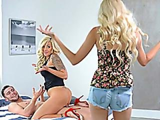 Nina Elle And Naomi Woods Shared A Cock In The Bedroom