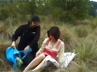 Himawari Is Fucked With Vegetables And Rides Cock On The Field