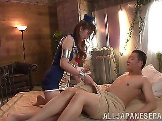 A Japanese Flight Attendant Acquires Screwed And Takes A Facial
