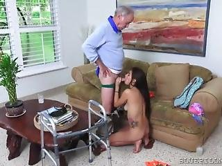 image Super hot siliconed julie puts his old butler to fuck her