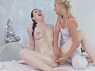 Gorgeous Lesbians Cayla Lyons And Daphne Angel Fuck After Sensual Massage