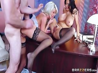 Described Video %E2%80%93 Sexy Threesome In The Office   Brazzers